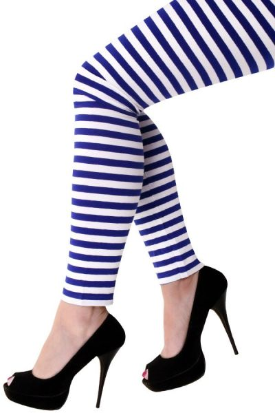 Legging dark blue white striped