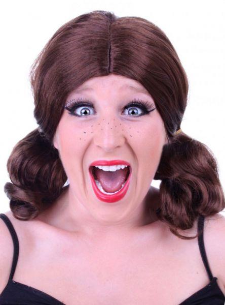 Brown ladies wig with pigtails