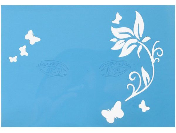 Facepaint Stencils branch with leaves with butterflies