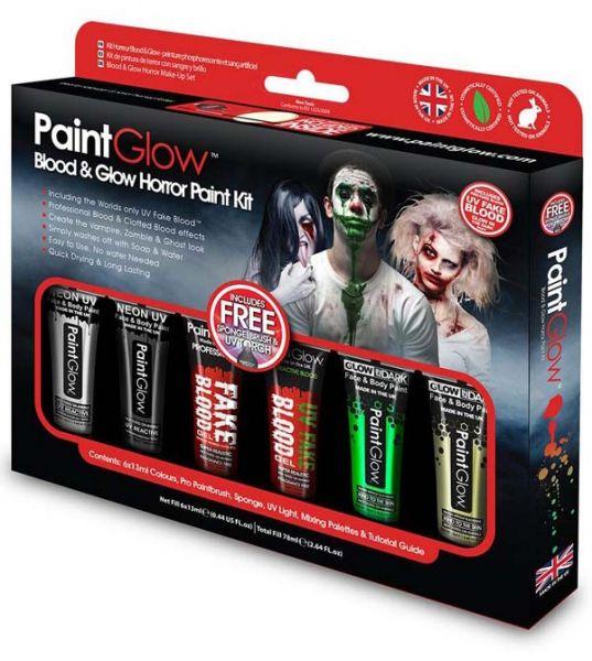 PaintGlow Blood Glow Horror Halloween Facepaint kit