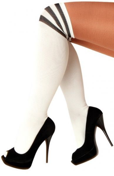 Long knee socks white with 3 black stripes