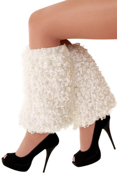 Leg warmers plush curly white