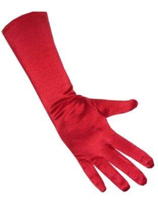 Red gala gloves satin stretch 40 cm