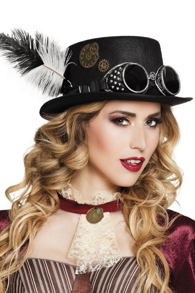 Steampunk hat with glasses and feather