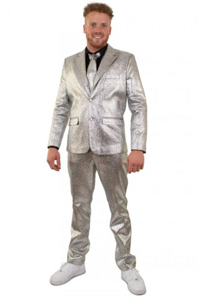Silver flashy metallic disco costume