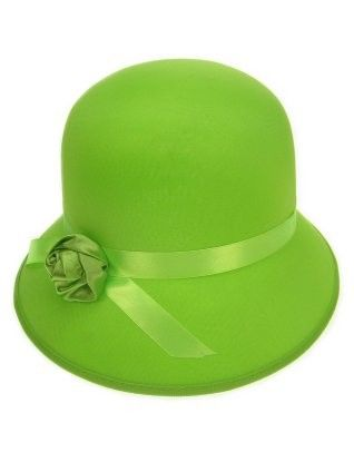 Ladies hat with rose neon green