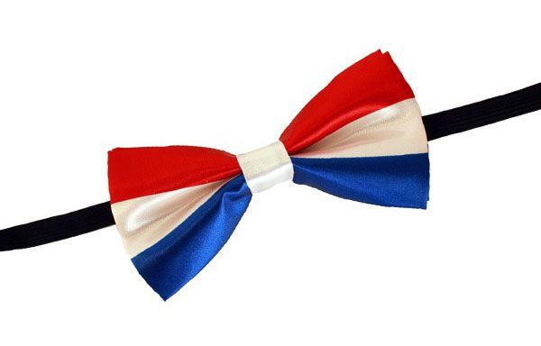 Bow tie satin red white blue