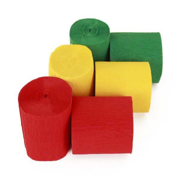 Crepe rolls of red yellow green fireproof
