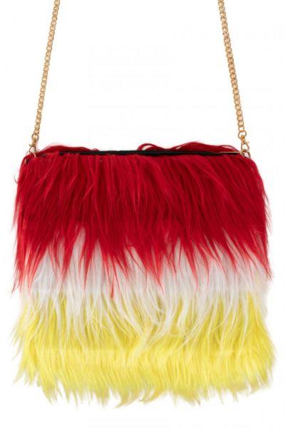 Bag red white yellow long plush