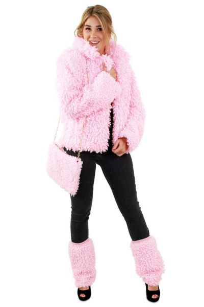 Fur coat short curly pink