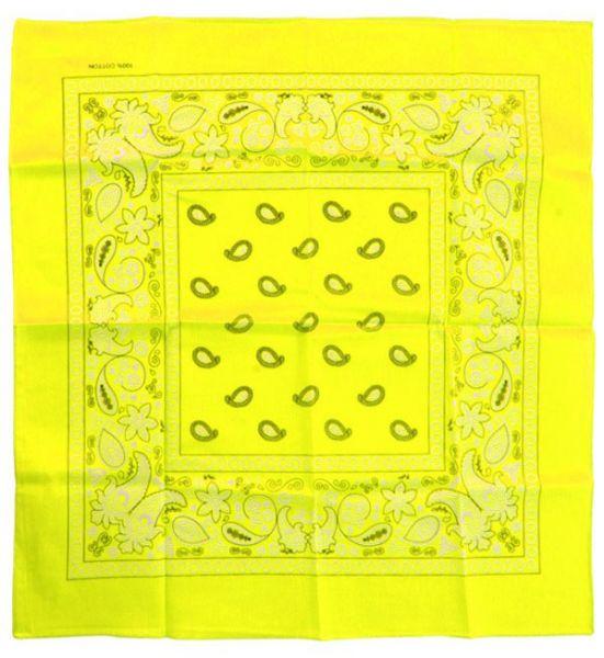 Handkerchief fluorine yellow bandana with pattern