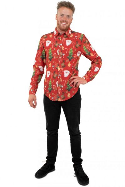 Cheerful red Christmas blouse