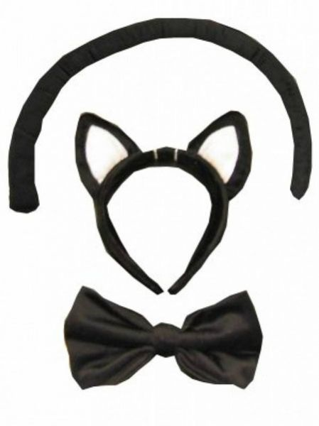 Cats animals set with tail bow and diadem