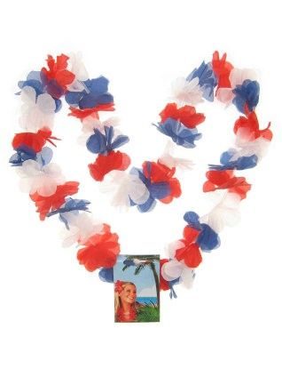 Hawaii necklace red - white - blue wreaths 12 pieces