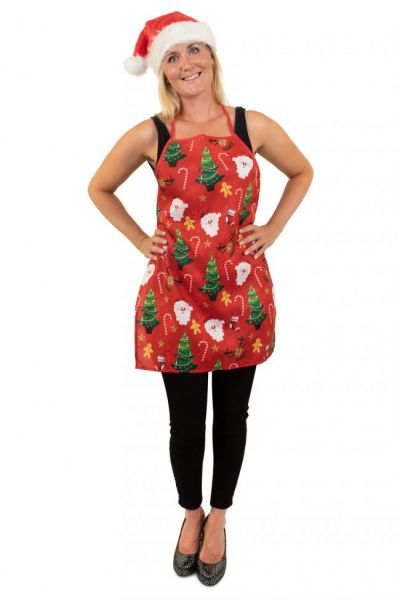 Christmas kitchen apron red with print