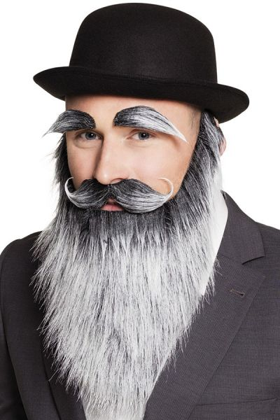 Beard with mustache and eyebrows gray