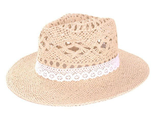 Beach hat straw openwork natural with strap