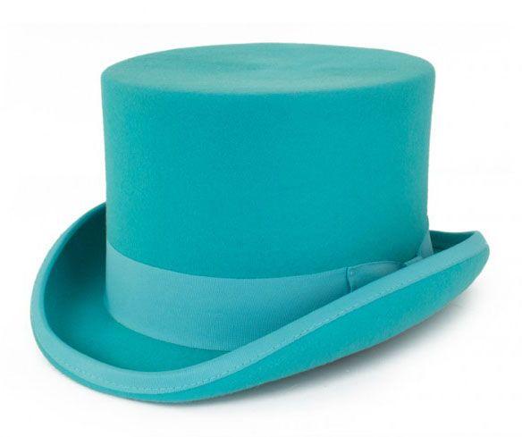 Turquoise wool wool top hat