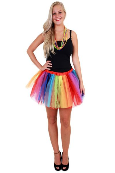 Tulle skirt with rainbow stripes