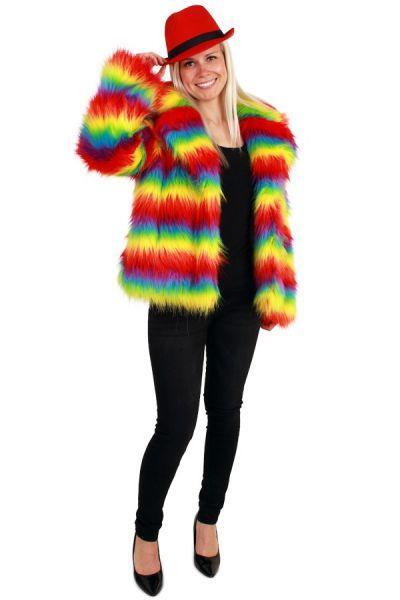 Ladies Fur Coat bright rainbow colors