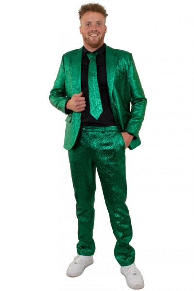 Green flashy metallic disco costume