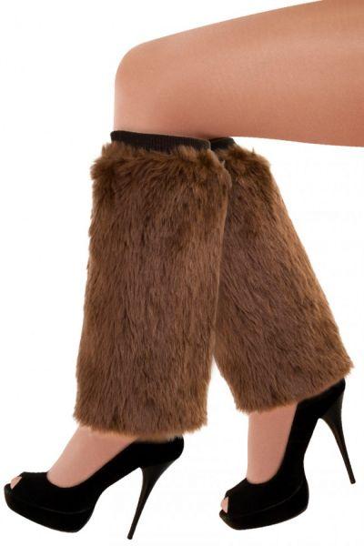 Leg warmers brown plusche