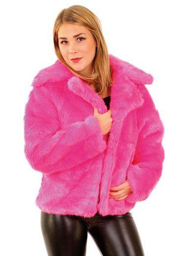 Ladies in a fur coat fluor pink