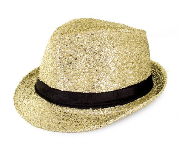 Disco gangster hat glitter gold