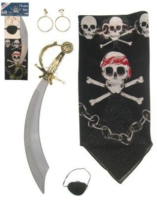 Pirate handkerchief eye patch earrings and sword