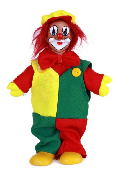 Clown doll with cap red yellow green