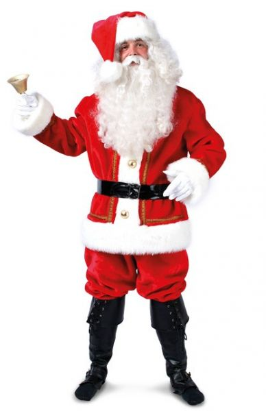Luxury Santa costume suit red white christmas