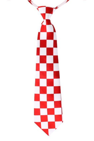 Tie red and white checked