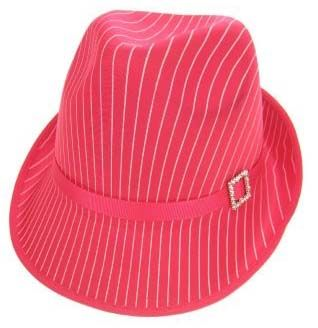 Gangster hat pink with white stripe