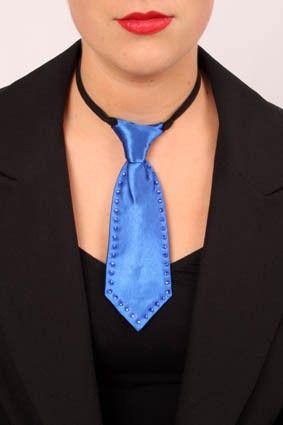 Mini tie blue with rhinestone stones