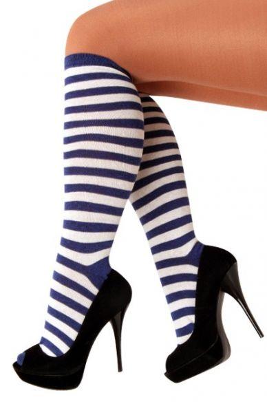 Socks blue white striped