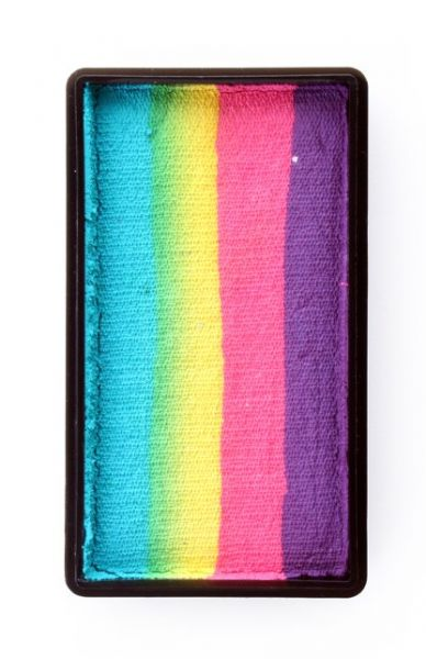 One Stroke split cake Purple pink yellow turquoise Face Painting PartyXplosion