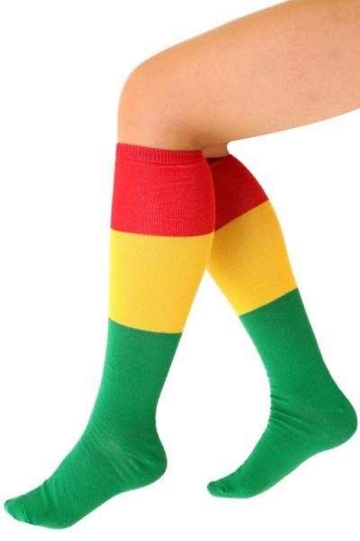 Socks red yellow green striped