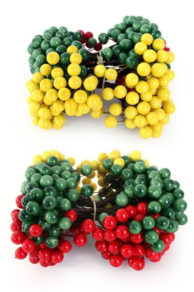 Deco berries red yellow green on wire 200 pieces mix