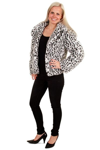Ladies fur coat dalmatian print