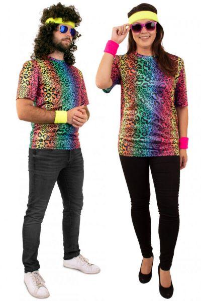 Hippie T-shirt neon leopard print