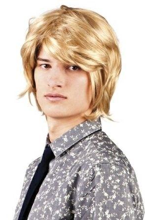 Men wig 70s 80s blond