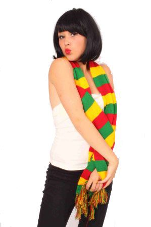 Scarf red yellow green knitted