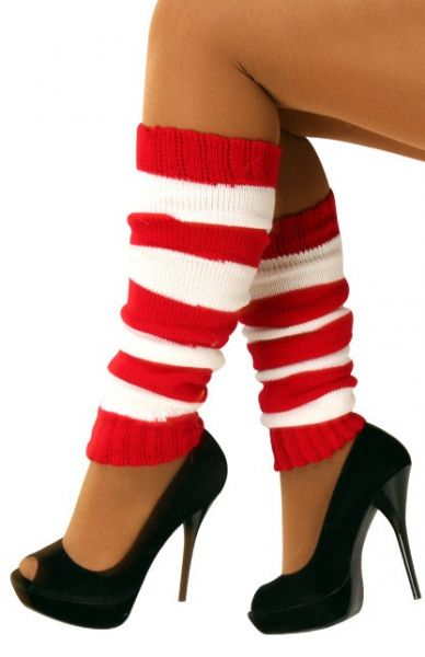 Leg warmers red white