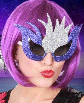 Brazilian glasses glitter silver purple