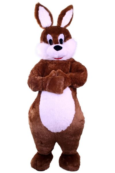 Plush brown Easter bunny costume luxury with belly