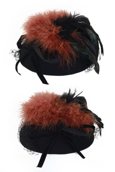 Ladies hat black green black brown feathers