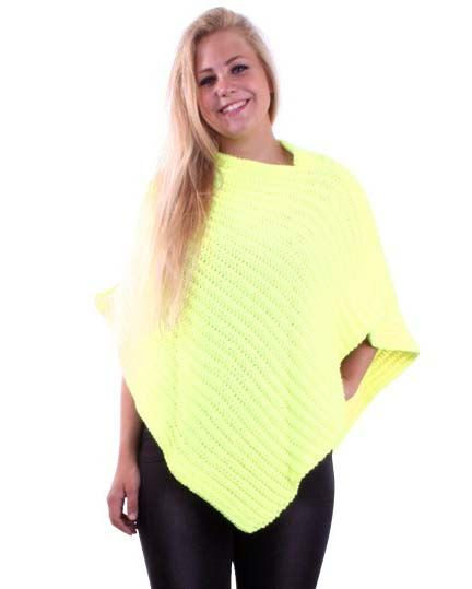 Poncho fluor yellow knitted