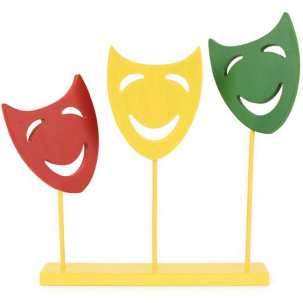 Decoration shelf with 3 masks on a stick