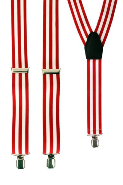 Suspenders red - white striped