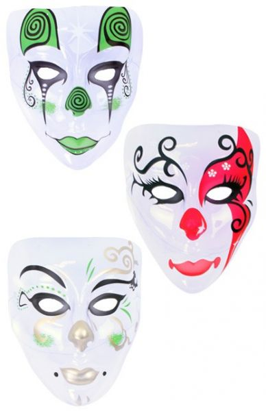 Mask Pierrot colored transparent